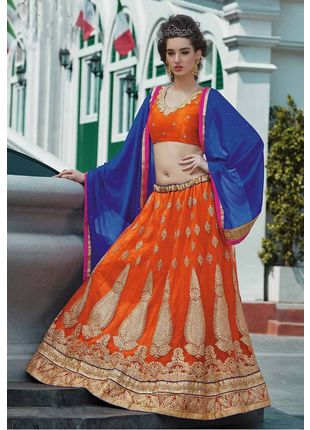 Orange and Blue Festive Net Embroidered Lehenga with Designer Blouse Piece and Chiffon Dupatta