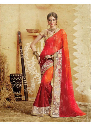 Red and Orange Bandhani Printed Georgette Saree