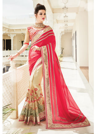 Red and Cream Georgette Heavy Embroidered Designer Wedding Saree