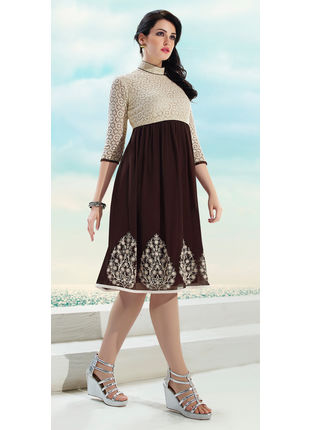 Off White and Brown Georgette Designer Fashionable Kurti (Size: L and XL)