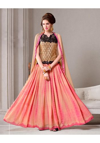 Salmon Colored Embroidered Georgette Semi stitched Salwar Kameez