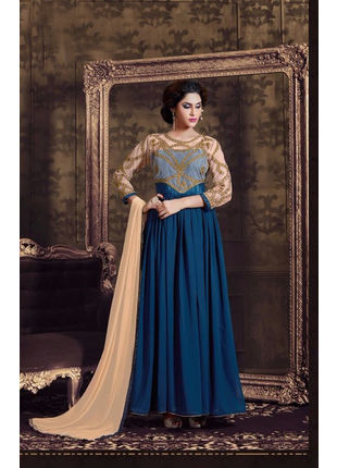 Navy Blue Emroidered Semi Stiched Georgette Anarkali Suit
