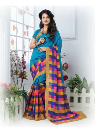 Blue Formal Bhagalpuri Silk Saree with Blouse
