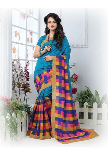 Blue Formal Bhagalpuri Silk Saree with Blouse