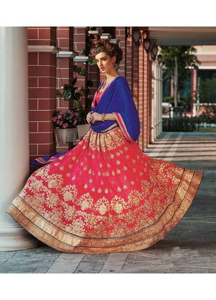 Red and Blue Festive Net Embroidered Lehenga with Designer Blouse Piece and Chiffon Dupatta