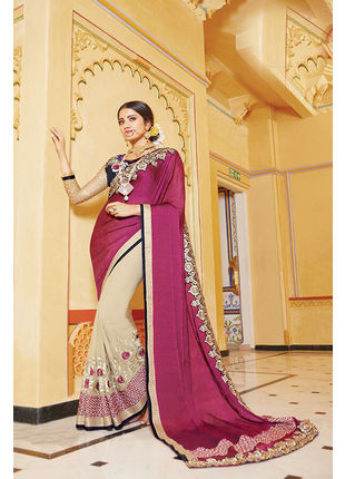 Magenta and Cream Georgette Embroidered Designer Wedding Saree