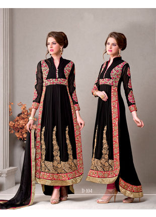 Black Embroidered Georgette Semi stitched Salwar Kameez