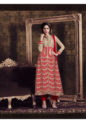 Red and Golden Embroidered Georgette Semi Stiched Straight Cut Suit