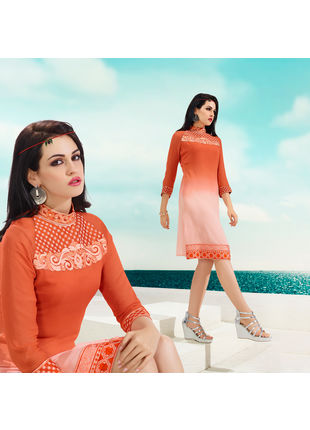 Orange and Dusty Pink Georgette Designer Fashionable Kurti (Size: M, L and XL)