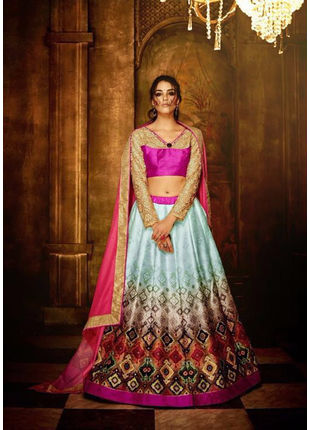 Light Blue Banglori Silk Designer Printed Semi Stitched Lehengas with Designer Blouse Piece