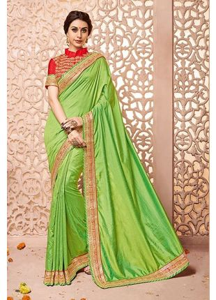 Light Green Designer Wedding Silk Saree