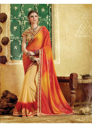 Red and Beige Bandhani Printed Georgette Saree