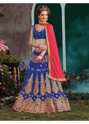 Blue and Pink Festive Net Embroidered Lehenga with Designer Blouse Piece and Chiffon Dupatta