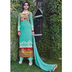Sea Green Net Heavy Embroidered Party Wear Salwar Kameez
