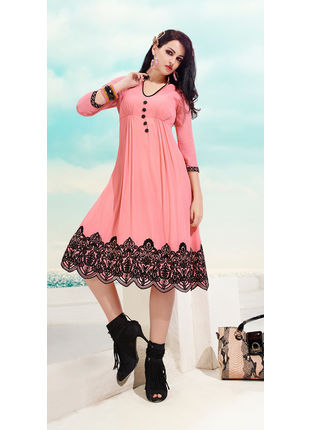 Dusty Pink Georgette Designer Fashionable Kurti (Size: L and XL)