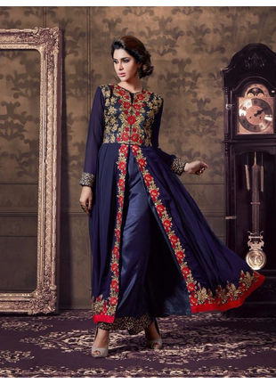 Navy Blue Embroidered Georgette Semi Stiched Straight Cut Suit