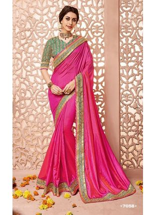 Hot Pink Designer Wedding Silk Saree