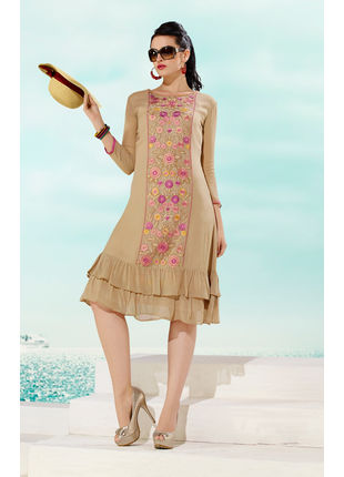 Beige Georgette Designer Fashionable Kurti (Size: M, L and XL)
