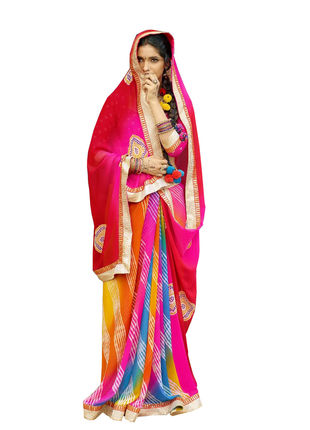 Multicoloured Chiffon Bandhani Printed Saree