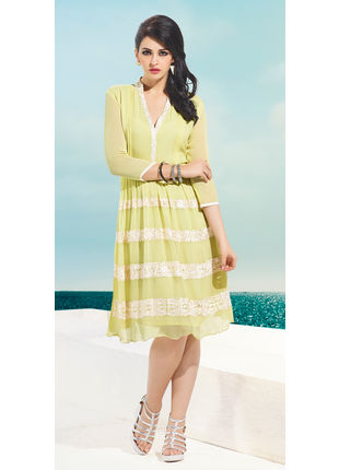 Lemon Yellow Georgette Designer Fashionable Kurti (Size: M, L and XL)