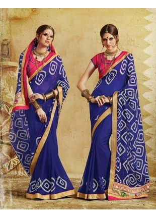 Navy Blue and Beige Bandhani Printed Georgette Saree