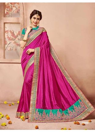 Hot Pink Designer Wedding Silk Saree