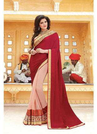 Red and Cream Georgette Embroidered Designer Wedding Saree