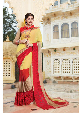 Yellow and Red Georgette Embroidered Designer Wedding Saree
