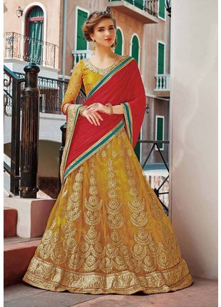 Yellow and Red Festive Net Embroidered Lehenga with Designer Blouse Piece and Chiffon Dupatta