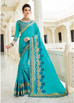 Blue Georgette Heavy Embroidered Designer Wedding Saree