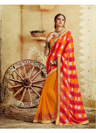 Yellow and Red Bandhani Printed Georgette Saree