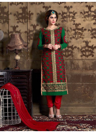 Dark Green Embroidered Georgette Semi Stiched Straight Cut Suit