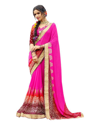 Pink and Red Chiffon Bandhani Printed Saree