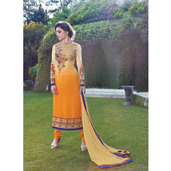 Shaded Yellow Georgette Heavy Embroidered Party Wear Salwar Kameez