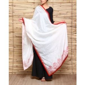 Handloom Bhagalpuri Silk Dupatta with Madhubani Painting and Silk Border