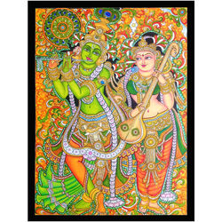 Musical Radha Krishna in Kerala mural, 50 cm by 60 cm