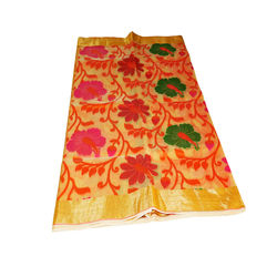 Saree - pure silk cotton, multi colour with Golden pallu