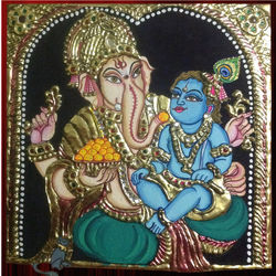 Vinayaka feeding baby Krishna (Thanjavur painting), 7 inches by 7 inches