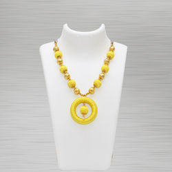 Silk Thread Necklace (Pendant Yellow)