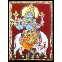Gopalakrishnan (Tanjore Painting), 6 inches by 8 inches