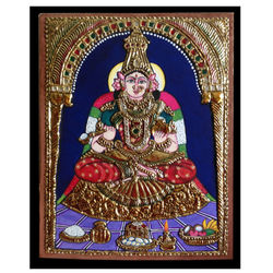 Annapoorneshwari of Kashi (Thanjavur painting), 7 inches by 7 inches