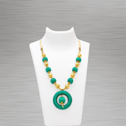 Silk Thread Necklace (Pendant D Green)