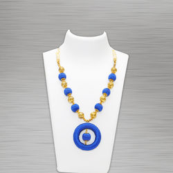 Silk Thread Necklace (Pendant D Blue)