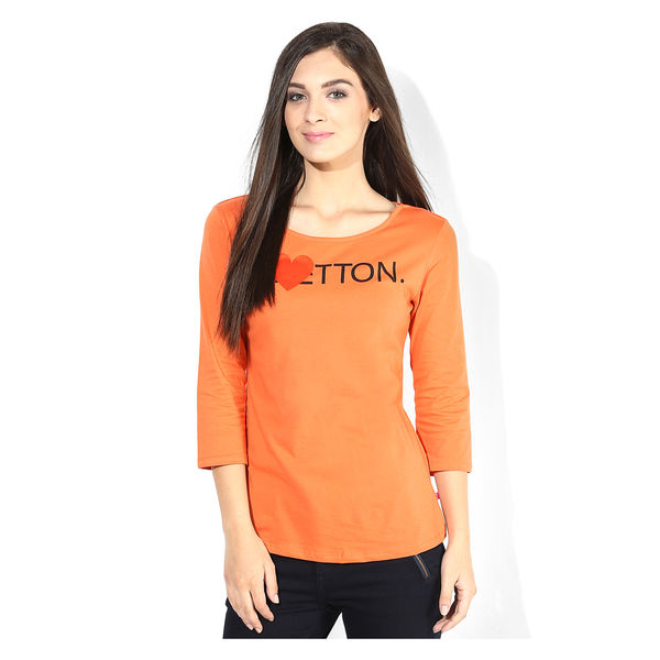 United Colors of Benetton Solid T Shirt,  orange, l
