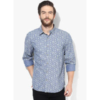 John Players Yarn Dyed Printed Casual Shirt, 42,  blue