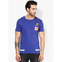 United Colors of Benetton Printed Round Neck T Shirt, l,  blue