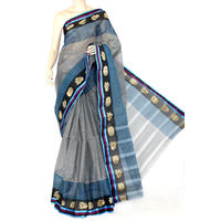 Grey Bengali Tant Saree