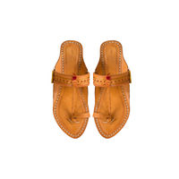 Yellow Leather Kolhapuri Chappal, 5
