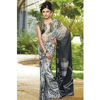 Gray Georgette Saree with Multi Colour Printed Pallu