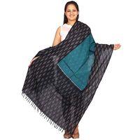 Teal Pochampally or Ikat Cotton Handloom Dupatta